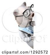 Clipart Of A 3d Happy Bespectacled Polar Bear Doctor Or Veterinarian Looking Around A Sign Royalty Free Illustration