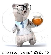 Clipart Of A 3d Happy Bespectacled Polar Bear Doctor Or Veterinarian Walking With A Honey Jar Royalty Free Illustration