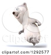 Clipart Of A 3d Happy Polar Bear Running To The Left Royalty Free Illustration