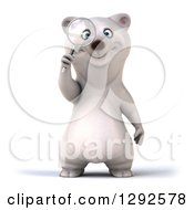 Clipart Of A 3d Happy Polar Bear Searching With A Magnifying Glass Royalty Free Illustration