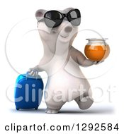 Clipart Of A 3d Happy Traveling Polar Bear Wearing Sunglasses Holding Honey And Walking With A Rolling Suitcase Royalty Free Illustration