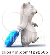 Clipart Of A 3d Happy Traveling Polar Bear Walking To The Right With A Rolling Suitcase Royalty Free Illustration