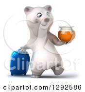 Clipart Of A 3d Happy Traveling Polar Bear Walking With A Honey Jar And A Rolling Suitcase Royalty Free Illustration