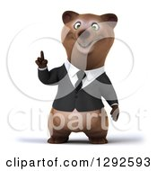 Clipart Of A 3d Happy Brown Business Bear With An Idea Royalty Free Illustration