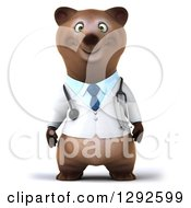 Clipart Of A 3d Happy Brown Bear Doctor Or Veterinarian Royalty Free Illustration by Julos