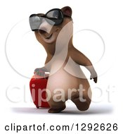 Clipart Of A 3d Happy Traveling Brown Bear Wearing Sunglasses And Walking With A Rolling Suitcase Royalty Free Illustration