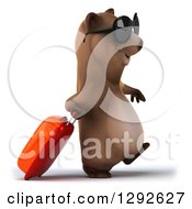 Clipart Of A 3d Happy Traveling Brown Bear Wearing Sunglasses And Walking To The Right With A Rolling Suitcase Royalty Free Illustration