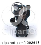 Clipart Of A 3d Happy Black Bear Looking Up Through A Magnifying Glass Royalty Free Illustration by Julos