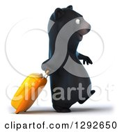 Clipart Of A 3d Happy Traveling Black Bear Walking With A Rolling Suitcase Royalty Free Illustration