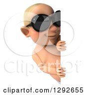 Clipart Of A 3d Happy White Baby Boy Wearing Sunglasses And Looking Around A Sign Royalty Free Illustration