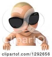 Clipart Of A 3d Happy White Baby Boy Wearing Sunglasses And Looking Down Over A Sign Royalty Free Illustration