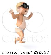 Clipart Of A 3d Happy White Baby Boy Wearing Sunglasses Jumping And Facing Right Royalty Free Illustration