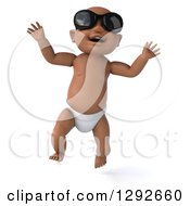 Clipart Of A 3d Black Baby Boy Wearing Sunglasses And Jumping Royalty Free Illustration