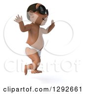 Clipart Of A 3d Black Baby Boy Wearing Sunglasses Facing Right And Jumping Royalty Free Illustration