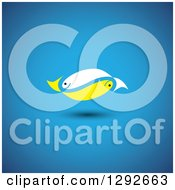 Clipart Of A Pair Of White And Yellow Fish Floating Over Blue Royalty Free Vector Illustration