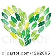 Clipart Of A Love Heart Made Of Green Leaves Royalty Free Vector Illustration