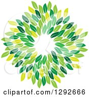 Clipart Of A Circle Wreath Made Of Green Leaves Royalty Free Vector Illustration by ColorMagic
