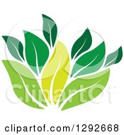 Clipart Of A Group Of Green Leaves Royalty Free Vector Illustration