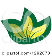 Clipart Of A Green Leaf Design With Three Leaves Royalty Free Vector Illustration