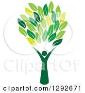 Clipart Of A Person Forming The Trunk Of A Tree With Green Leaves Royalty Free Vector Illustration