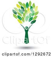 Clipart Of A Floating Person Forming The Trunk Of A Tree With Green Leaves Royalty Free Vector Illustration by ColorMagic