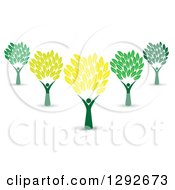 Group Of Cheering People Forming Trunks Of Trees With Yellow And Green Leaves