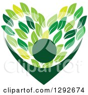 Clipart Of A Cheering Person With Arms Framing A Love Heart Made Of Green Leaves Royalty Free Vector Illustration by ColorMagic