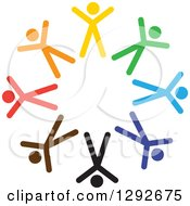 Clipart Of A Team Circle Of Colorful Cheering Stick People Royalty Free Vector Illustration