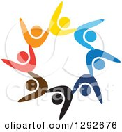 Clipart Of A Team Of Colorful Cheering People Forming A Circle Royalty Free Vector Illustration
