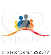 Clipart Of A Team Of People Over Orange And Red Swooshes Royalty Free Vector Illustration