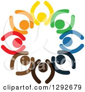 Clipart Of A Team Circle Of Colorful Cheering People With Their Arms Up Royalty Free Vector Illustration