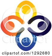 Clipart Of A Team Circle Of Colorful People Praying With Their Hands All In Royalty Free Vector Illustration