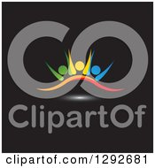 Clipart Of A Team Of Colorful Cheering People Over A Swoosh And Light On Black Royalty Free Vector Illustration
