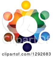 Clipart Of A Team Circle Of Abstract Colorful People Forming A Gear Royalty Free Vector Illustration