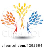 Clipart Of A Happy Group Of Red Orange And Blue Cheering And Jumping People With Leaves Royalty Free Vector Illustration