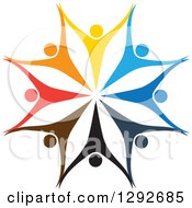 Clipart of a Team Circle of Colorful Cheering People Holding Hands and Forming a Flower or Snowflake - Royalty Free Vector Illustration by ColorMagic #COLLC1292685-0187