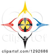 Clipart Of A Team Of Colorful Cheering People Holding Hands Around A Target Royalty Free Vector Illustration by ColorMagic