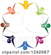 Clipart Of A Team Circle Of Colorful Cheering People From The Chest Up Holding Hands Royalty Free Vector Illustration