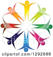 Clipart Of A Team Circle Of Colorful Cheering People Royalty Free Vector Illustration