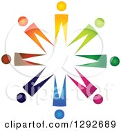 Clipart Of A Team Circle Of Abstract Colorful People Royalty Free Vector Illustration