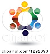 Clipart Of A Team Circle Of Abstract Floating Colorful People Forming A Gear Royalty Free Vector Illustration