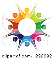 Clipart Of A Team Circle Of Colorful Cheering People Forming A Burst Royalty Free Vector Illustration