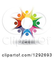 Clipart Of A Team Circle Of Colorful Floating Cheering People Forming A Burst Royalty Free Vector Illustration