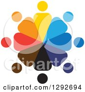 Clipart Of A Team Circle Of Colorful People Employees Or A Support Group Royalty Free Vector Illustration