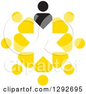 Clipart Of A Circle Of Yellow People And A Black Leader Royalty Free Vector Illustration by ColorMagic