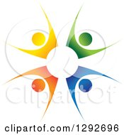 Clipart Of A Team Circle Of Four Colorful Cheering People Royalty Free Vector Illustration by ColorMagic #COLLC1292696-0187