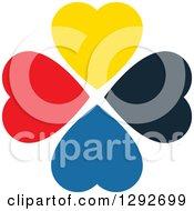 Clipart Of A Circle Of Diverse Colorful Hearts Royalty Free Vector Illustration