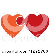 Clipart Of Orange And Red Hearts Connected And Linked Like A Puzzle Piece Royalty Free Vector Illustration