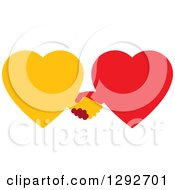Poster, Art Print Of Yellow And Red Hearts Shaking Hands