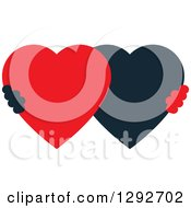 Clipart Of A Black And Red Heart Shaped Couple Royalty Free Vector Illustration